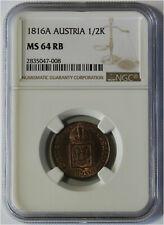 1816 Austria 1/2 Kreuzer Coin NGC MS 64 RB KM#2110