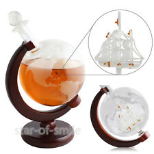 Glass Whiskey Globe Decanter with Antique Ship (Mahogany Stained Wood)