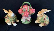 FITZ & FLOYD Blackberry Rabbit Canister Set W/Box 3 Retired Bunny Figure Easter