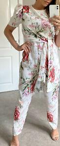 Womens New Summer Light Floral Belted Jumpsuit Short Sleeves UK Size 10-12-14-16