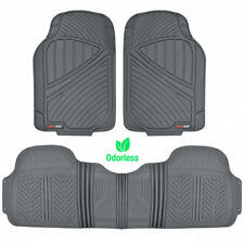 Motor Trend FlexTough 3pc Rubber Floor Mats - Thick Heavy Duty All Weather Gray