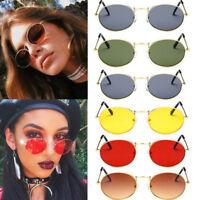 Women Small Oval Sunglasses Retro Red Eyewear Vintage Glasses Gold Metal Frame