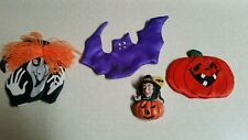 Halloween Refrig. Magnets Witches, Pumpkin & Bat Lot Of 4 - 3 Avon & 1 Resin