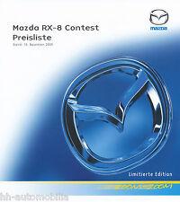 MAZDA rx-8 Contest listino prezzi 15.11.05 PRICE LIST LISTINO PREZZI AUTO auto PKW CAR