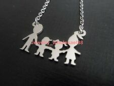 5pcs lot Stainless Steel Boy+Girl+parents Family Necklace Pendant Chain Fashion