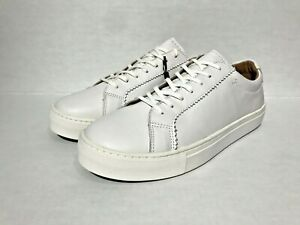 Massimo Dutti Men White Nappa Leather Plimsolls Sz 10 Eu 43 Sneaker 2100/022/001