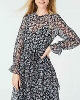 Maison Jules Womens  Navy Floral-Print Asymmetrical Maxi Dress Sz 4 $89.5 {&}