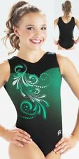 "Nwt Evergreen Effect sublimated subfuse, black nylon Gk â""¢ gymnastics leotard As"