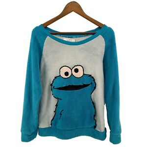 Rare Cookie Monster Sesame Street Terry Unisex Youth sz L Pullover Lounge Top