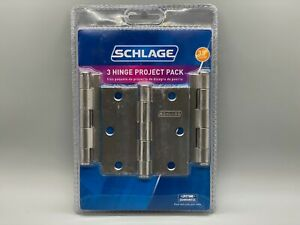 """BRAND NEW Schlage 3 Hinge Project Pack 3.5"""" Square Corner Mortise Satin Nickel"""