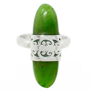 Hand Work - Canadian Nephrite Jade 925 Sterling Silver Ring s.6.5 BR84727