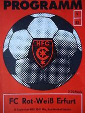 Programm 1981/82 HFC Chemie - Carl Zeiss Jena
