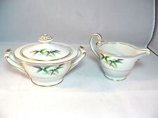 Harmony House Mandarin Creamer & Sugar Bowl Bamboo Purple Green Gold Trim 1954
