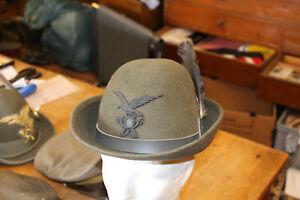 AL28: Sammlungsauflösung Schirmmütze Italien Alpini Hut mit Feder SELTEN