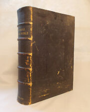 HUGE LEATHER Antique IMPERIAL FAMILY BIBLE Blackie & Son MANY STEEL ENGRAVINGS