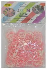 Pastel Tie Dye 300 Loom Bands With 12 Clips - Light Pink/White