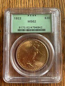 1922 U.S. ST GAUDENS $20 GOLD COIN PCGS MS62