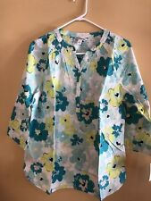 Croft And Barrow Blouse Womans Top Size M Long Sleeve Floral NWT