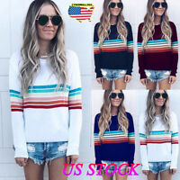 US Women's Rainbow Sweater Casual Sweatshirt Tops Blouse Hoodies Pullover Jumper