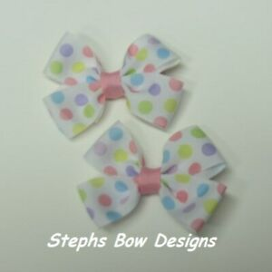 Lot 2 Pastel Polka Dots Dainty Pigtail Hair Bows Set Fits Baby to Toddler Easter