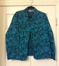 CHICO'S TURQUOISE SIZE 2 SILK RAYON BLAZER FLORAL
