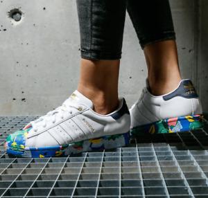 Adidas Originals Womens Superstar Shoes White/Ink Floral FW2526 UK UK 6, 6.5
