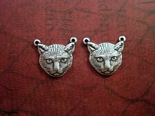 Oxidized Silver Cat Head Connector (2) - SOGB6404 Jewelry Finding