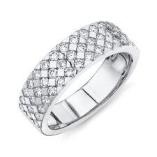 Womens 6 MM 14K White Gold Diamond Wedding Ring Band Triangle Prong Set 3 Row