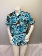 Vintage Hawaiian Aloha Shirt - Ocean Pattern with Neon Palm Trees - Men's Large