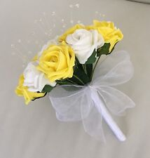 Flores Artificiales Amarillo Espuma Blanca Rose Boda Dama Cristal Bouquet