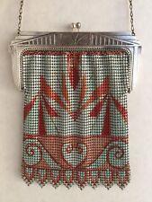 Great Antique Whiting & Davis Art Deco Enameled Mesh Purse -Bag Blue background