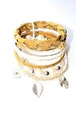 Green Yellow Pearl Cream Gold Ribbon Charm Fashion Bangle Beaded Bracelet Set