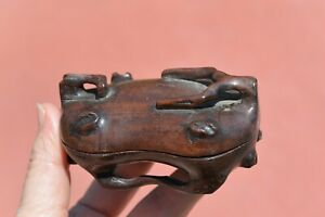 1900's Chinese Zitan Wood Carved Carving Scholar Box Bark Tree Branch Shaped