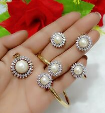 American Diamond & Pearl Studded Flower Pendant Combo Set For Women