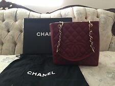 MINT 100% AUTHENTIC CHANEL RED CAVIAR LEATHER PETITE SHOPPER TOTE GHW
