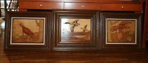 Wooden Bas-Relief carved Pictures Mallard Ducks, & Turkeys by J.R. Mixon