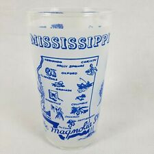 Mississippi state glass souvenir blue white