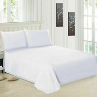 Luxury 100% Egyptian Cotton White Flat Sheets Single Double King Size Bed Sheet