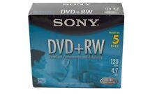 Sony DVD + Rewritable Blank Media 5 Pack 120 Minutes Or 4.7 GB Storage 4x Sealed
