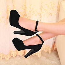 Womens Ankle Strap Platform Stilettos High Heels Shoes Faux Suede Shoes Size 3-7