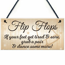 Red Ocean Flip Flop Grab a Pair and Dance Wedding Prop Hanging Plaque
