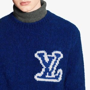 Louis LV Intarsia Crewneck sweater blue size Medium/M
