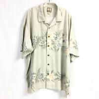 Tommy Bahama Mens XXL Silk Shirt Green Floral Flower Print Short Sleeve Hawaiian