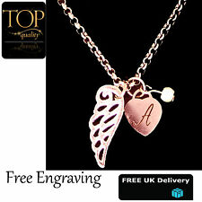 Heart Guardian Angel Wing Personalised Engraved Name Necklace Rose Gold Plated