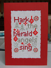 Completed Cross Stitch Christmas Card Hark the Herald Angel Sing Red