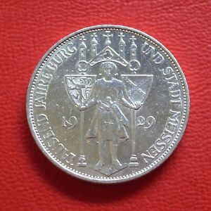 3 Reichsmark Meissen 1929 E vf / Silver/Weimar/German Reich / Km# 65 J#338