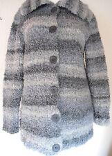 Jacke Handstrick Boucle Damen NEU Wolle Strickjacke grau Streifen Lana Grossa