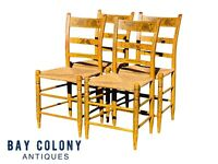 19TH C ANTIQUE COUNTRY PRIMITIVE SHERATON SET OF 4 FANCY PAINT DINING CHAIRS