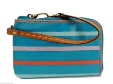 Fossil Key Per Wristlet Clutch Handbag Blue Multi Stripe Zip Around New! NWT