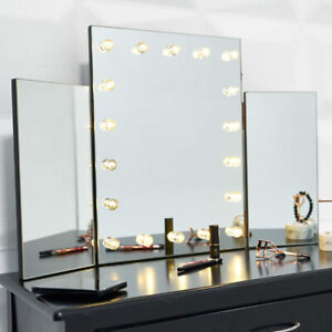 LIGHT UP DRESSING TABLE TOP HOLLYWOOD MIRROR LED BULBS MAKE UP VANITY FOLDABLE